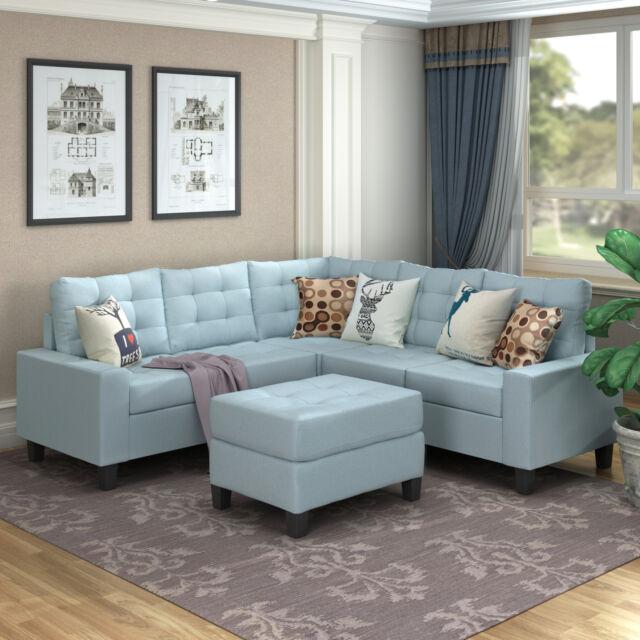 Sectional Sofa Set Leather Gel Ottoman