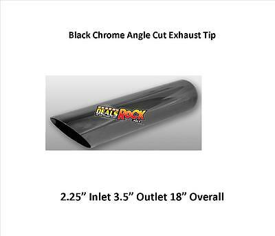 BLACK CHROME STAINLESS EXHAUST TIP 2.25 IN / 3.5 OUT
