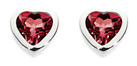 Dew 925 Sterling Silver Birthstone 6mm Heart Stud Earrings - January Garnet