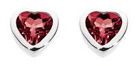 Dew 925 Sterling Silver Birthstone 6mm Heart Stud Earrings - January Garnet