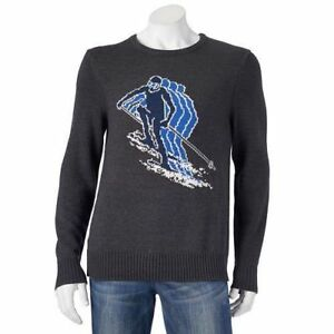 Urban-Pipeline-Men-039-s-Skier-Sweater-Grey-Downhill-Ski-Design-NWT-Cotton-Blend