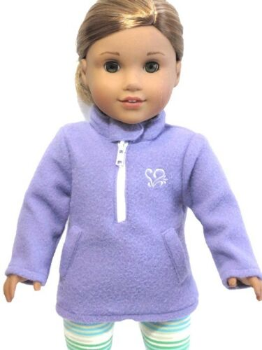 """Purple Fleece Pullover Zip Jacket For 18/"""" American Girl Doll Clothes"""