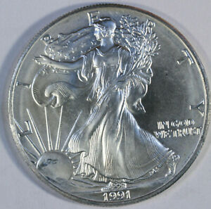 1991-American-Silver-Eagle-One-Troy-Ounce-999-Pure-UNC-b26