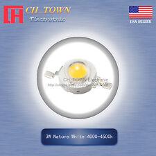 10Pcs 3W Watt High Power Nature White 4000-4500k LED Diodes Lamp Beads Bulb Chip