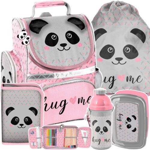 5 tlg Set Mädchen Schulanfang Schulranzen Rucksack Sporttasche Federtasche Panda