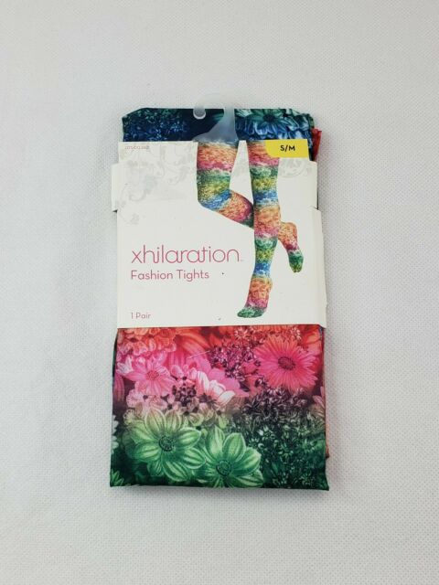 New Xhilaration Fashion Tights Small//Medium MULTI-COLOR Floral Design TARGET