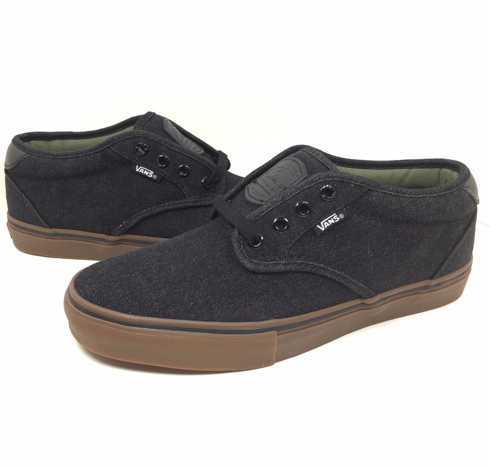 New Vans Chima Estate Pro Black Size 7.5 Men Denim Black Pro Gum Sole Canvas Skate Shoe d59998