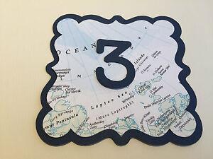 Ouvert D'Esprit Table De Mariage Numéros En Carte Design Fabriqué à La Main Idéal Pour Voyage Thème-afficher Le Titre D'origine