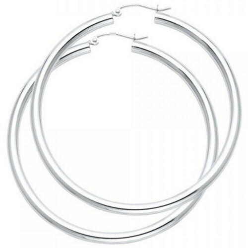 3mm High Polish Hoop Earrings Solid14k Yellow or White Gold Oro Aretes Arracadas