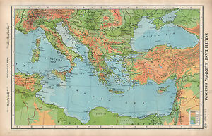 Map Of Italy Greece And Turkey.1952 Map South East Europe Physical Bulgaria