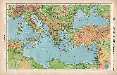 Cartina Italia Grecia Turchia.Mappa 1952 Sud Est Europa Fisica Bulgaria Romania Italia Grecia Turchia Ebay