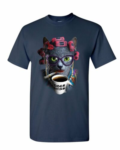 Crazy Old Cat Lady T-Shirt Dogs Stink Funny Kitten Cat Lover Pet Mens Tee Shirt