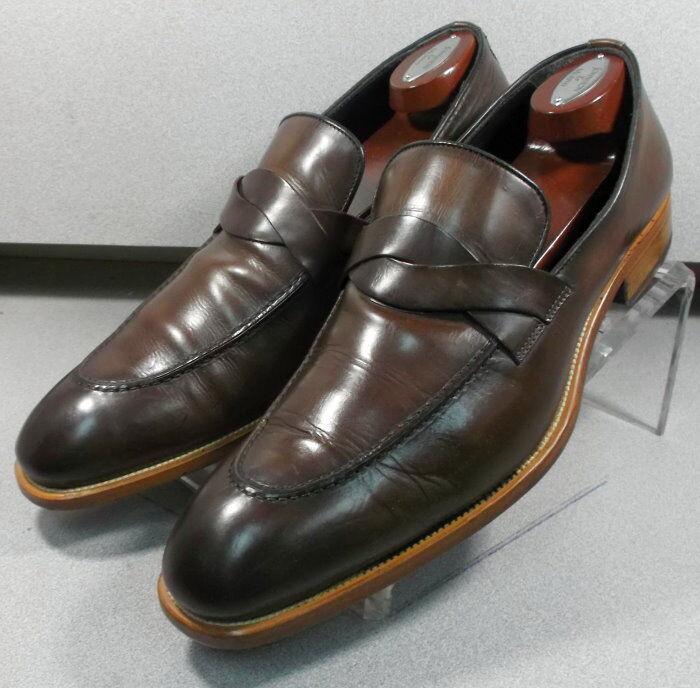 243046 pfi60 zapatos masculinos, talla 9 M, cuero marrón, fabricado en Italia, Johnston Murphy