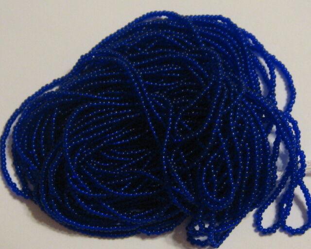 15/0 HANK COBALT BLUE TRANSPARENT CZECH GLASS SEED BEADS