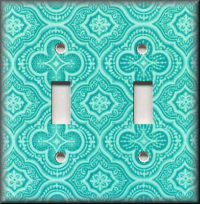 Metal Light Switch Plate Cover - Moroccan Tile Pattern Seafoam Boho Home Decor