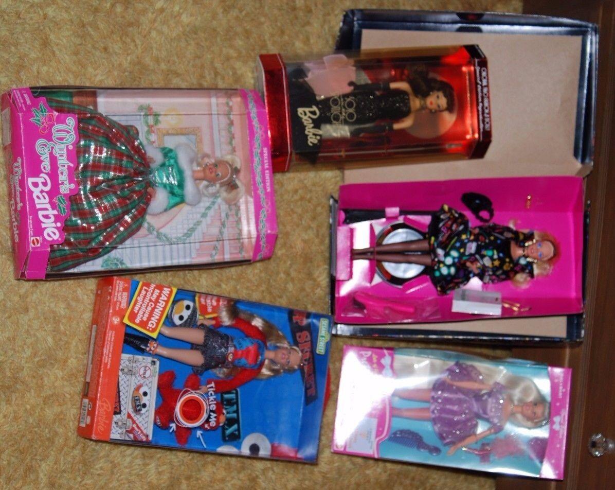 2006 Sesame Street Tickle Me Elmo Muñeca Barbie-Conjunto de 5 Lote Nuevo En Caja