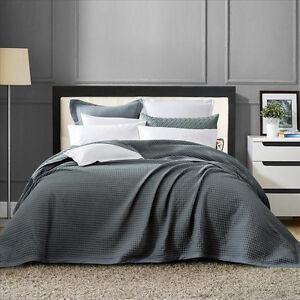 New-100-Cotton-Chunky-Large-Waffle-Blanket-Bedspread-Bed-Throw-Rug-Dark-Grey