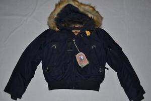 AUTHENTIC-PARAJUMPERS-GOBI-ECO-BOYS-HOODED-BOMBER-NAVY-YOUTH-SMALL-BRAND-NEW