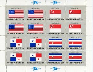 HonnêTe Timbre Nations Unis New-york / Drapeaux Neuf Feuille N° 353/356 ** Cote ++ 17 €