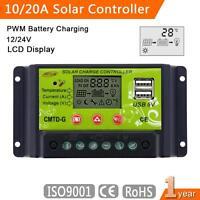 Intelligent 10A/20A PWM Solar Panel Charge Controller Regulator LCD 12V 24V SP