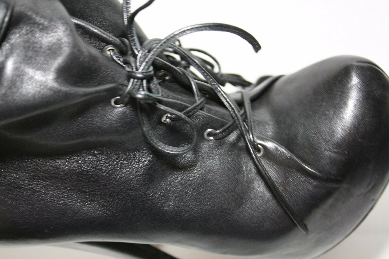 ALEJANDRO INGELMO SHOES MIA HIGH HEEL PLATFORM BOOTIES ANKLE BOOTS BLACK LEATHER