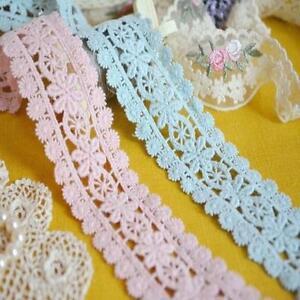 double edge vintage style crochet blossom cotton lace trim pink blue wedding 1m ebay. Black Bedroom Furniture Sets. Home Design Ideas