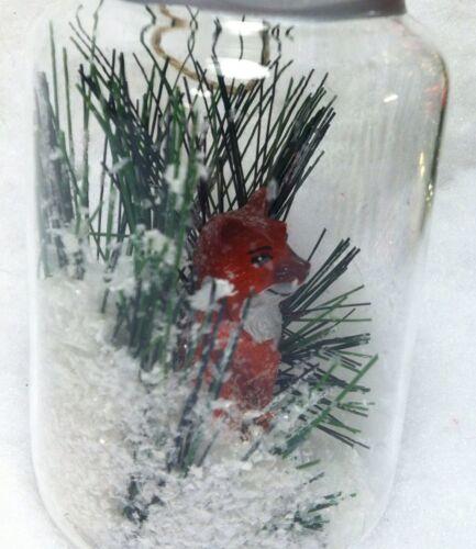 Red Fox In Jar Snow Globe Christmas Tree Ornament Woodland Animal