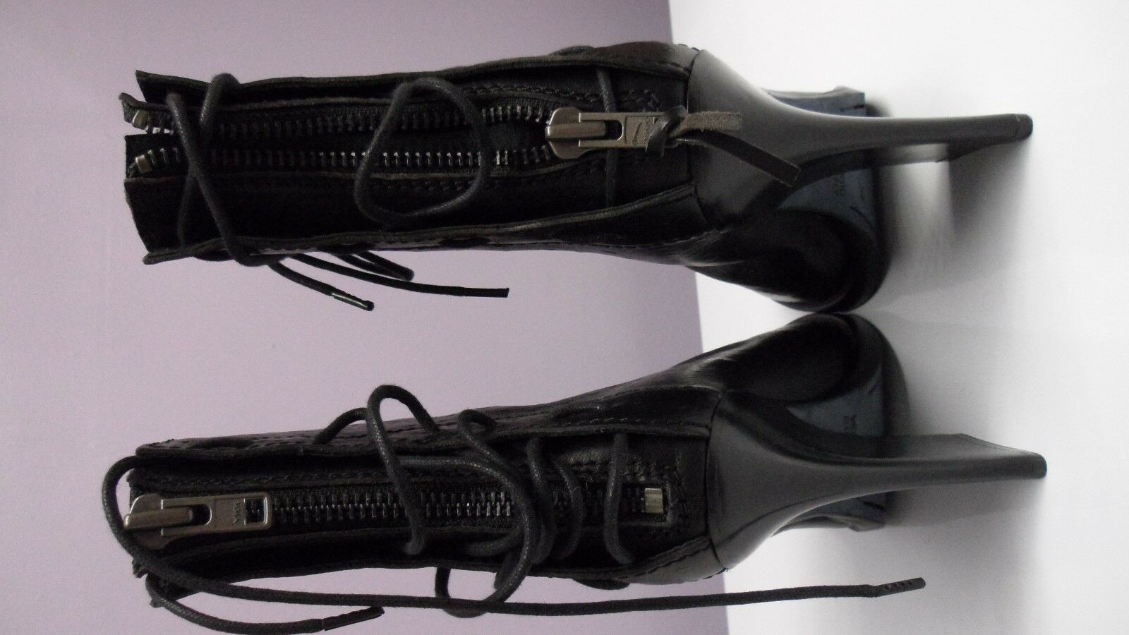 Retail   1295 Haider Ackermann Leather Ostrich-Print Lace-Up Lace-Up Lace-Up Ankle Stiefel Sz 38.5 05dc12