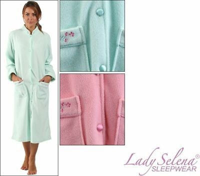 Ladies Soft Fleece Long Sleeve Nightie Nightwear Buttoned Im Sommer KüHl Und Im Winter Warm