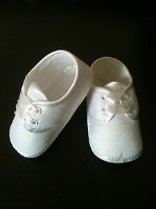 FREE-POST-Baby-Boy-Christening-Baptism-Pram-Shoes-Booties-White-Ivory-0-12Month