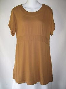 FLAX-Jeanne-Engelhart-Rayon-Shapely-Short-Sleeve-Shirt-Long-Tunic-Top-Dress-S