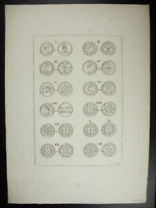 Antique Print Monnaies Carolingiennes Gravure Estampille Du Louvre