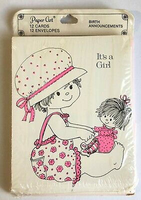 2019 Latest Design Vintage Birth Announcement Cards - It's A Girl - Paper Art - 12 In Pack Bringing More Convenience To The People In Their Daily Life