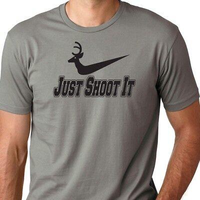 T-SHIRT M-5XL ~ DEER HUNTING Tee ~ Funny Hunter Parody Buck JUST SHOOT IT