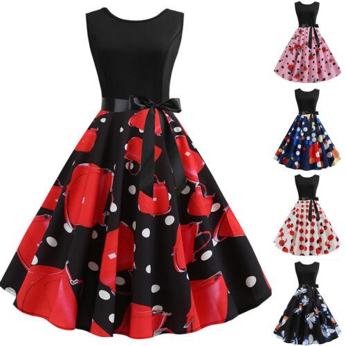 Damen Rockabilly 50er Swing Petticoat Vintage Hepburn Retro Ärmellos Partykleid