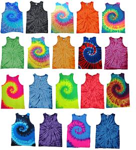Tie-Dye-sin-mangas-camisetas-Multicolor-Adulto-S-a-XXXL-100-Algodon-Colortone