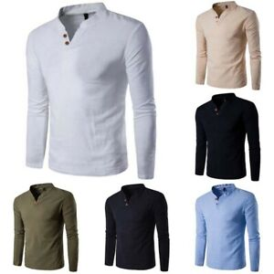 Sleeve-Men-Cotton-Shirts-Men-039-s-Fashion-T-Tops-Tee-Shirt-Long-Slim-Casual