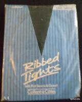 Vintage Marks & Spencer Ribbed Tights Dark Green Size Small Bnip