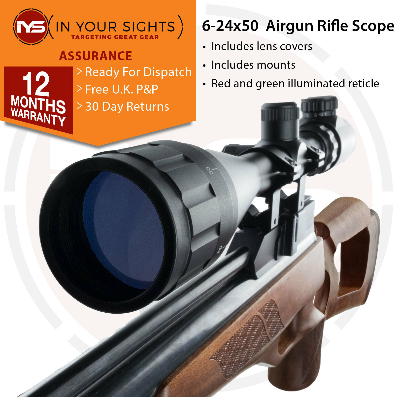 PISTOLA DE AIRE 6-24x50ao Alcance Del Rifle   objetivo ajustable MIRA +