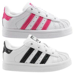 Details about Adidas Superstar I baby shoes low top sneakers white with pink or black NEW