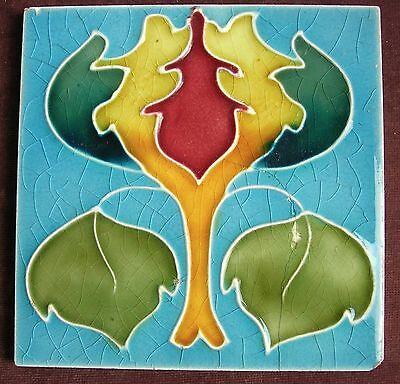"""Lovely Original Antique ART NOUVEAU 6"""" Tile c1905 A/F"""