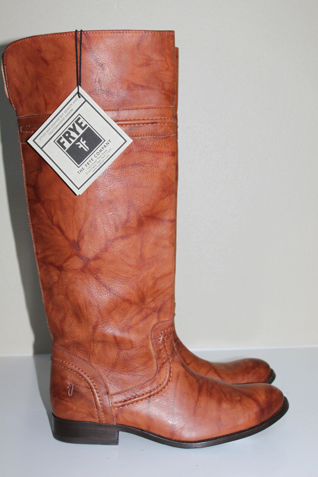Frye Melissa Trapunto Brown Leather Tall Riding Boots Low Heel shoes sz 6