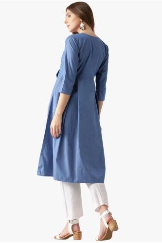 Indian Pakistani Straight Blue Kurta Solid Kurti Dress Women Tunic Size-S-7XL