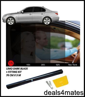 CAR VAN OFFICE BUS WINDOW TINT FILM TINTING SUPER DARK BLACK LIMO 5/% 76cm x 3M