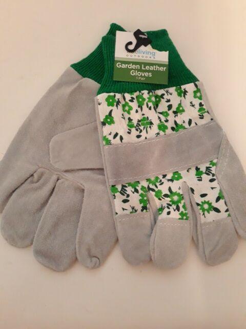 New Threshold Split Leather Gardening Glove Blue Floral Ladies Gardening Gloves