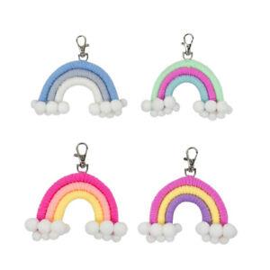 4 Pezzi Tessitura Arcobaleno Ornamento Portachiavi Palla di Capelli Appeso  N8U8