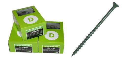 DECKING SCREW GREEN SINGLE THREAD SELF RIBS POZI 4.5MM BOX OF 200 BOXED