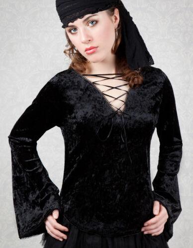 L XS S Black Velvet Gothic Top /'The Dark Angel/' NEW M