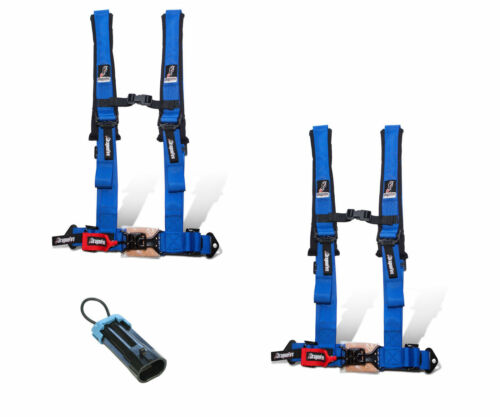 """Dragonfire Safety Seat Belts Harness Pair 4 Point 2/"""" Bypass Blue Polaris Can Am"""