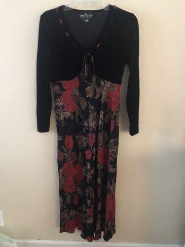 Vintage Carole Little rayon abstract wild print long sleeve dress size 10 medium M petite chest 40